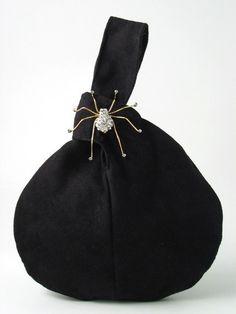 wristlet bag, BLACK handbag with spider broche, clutch, evening purse, cocktail bag, vegan ultrasued