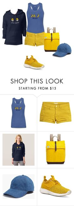 """""""Marathon Fashion Set   Yellow & Blue"""" by silkester on Polyvore featuring H&M, TOMS, Madewell and NIKE"""