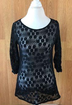 Alfani Shirt size Small Blouse Long Sleeve Black Sheer Top Cute Womens #Alfani #Blouse #Career