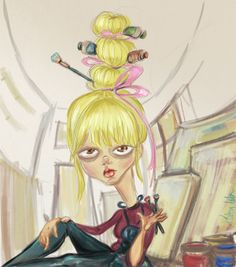 painter,girl,paint,brush,color,hair,style,cool