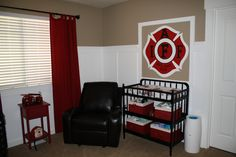 Perfect color combination for a firefighter room! Fireman Nursery, Fireman Room, Firefighter Bedroom, Firefighter Baby, Toddler Rooms, Baby Boy Rooms, Baby Boy Nurseries, Baby Room, Kids Rooms
