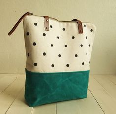 Large zippered Waxed Canvas Tote hand painted dotted by metaphore