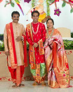 Anirudh in a green Paithani dothi and kanduva, Mallik Kankatala in red paithani dothi and kanduva and Silpa Kankatala wearing elegant white & red Paithani saree for the Uppanayam ceremony of Anirudh Kankatala, 3rd generation Director.   #AniSonu #Uppanayanam #weddingceremony #kankatalafamily #greatindianwedding #indianwedding #bigfatindianwedding #kanchi #kanchipuram #kanchisilk #groomsofindia #wedding #kankatalasaree #kankatala #bridgeofkankatala #queensofkankatala Wedding Outfit For Boys, Wedding Dress Men, Indian Wedding Outfits, Saree Wedding, Gown Dress Party Wear, Kids Party Wear Dresses, Sequin T Shirt Dress, Saree Tassels Designs, Kids Ethnic Wear