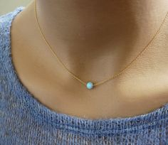 Opal Necklace, Tiny One 5mm Blue Opal Necklace, Opal Jewelry, 14k Gold Filled Necklace, Minimalist Pendant, Delicate Necklace