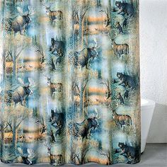 The Woodland Wildlife Shower Curtain Gives A Glimpse Of Nature At Its Most  Beautiful. Featuring Whitetail Deer, Moose, Ducks, And Mother Bear With Her  ...