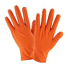 West Chester 2940 Industrial Grade Textured Disposable Nitrile Gloves, 7 mil, Powder Free: Orange, Small, Box of 100 - Kitchen Appliances Lists Products Latex Allergy, Disposable Plates, Food Service Equipment, Good Grips, Chester, Gloves, The Unit, Texture, Orange