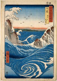 Awa Province: Naruto Whirlpools (Awa, Naruto no fûha), from the series Famous Places in the Sixty-odd Provinces [of Japan] ([Dai Nihon] Rokujûyoshû meisho zue)  Japanese Edo period 1855 (Ansei 2), 9th month Artist Utagawa Hiroshige I (Japanese, 1797–1858)