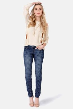 $41 Dot Your Average Blue Polka Dot Skinny JeansLove it!