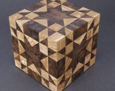 "5"" Cube Box With Quilt Pattern Amish Star"