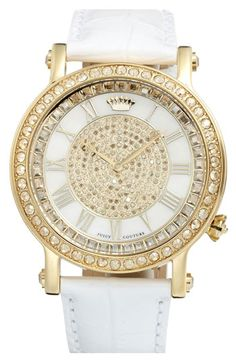 Juicy Couture 'Queen Couture' Leather Strap Watch | Nordstrom