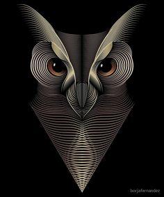 """Owl"" by borjafernandez Black Background Wallpaper, Background Drawing, Illusion Kunst, Illusion Art, Owl Tattoo Design, Owl Logo, Owl Pictures, Stencil Art, Owl Art"