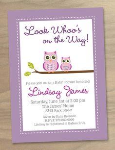 Baby Shower Invitation - Pink Purple Baby Girl Cute Modern Two Owls - Printable Digital File. $16.00, via Etsy.