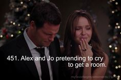 Alex and Jo pretending to be drunk to get a room.