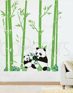 Panda wall art decals, diff color trees