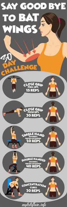5 exercises to get rid of bat wings health fitness workouts Fitness Workouts, Fitness Motivation, Sport Fitness, Body Fitness, Fitness Diet, At Home Workouts, Health Fitness, Workout Tips, Female Fitness