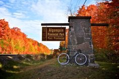 On October 2012 I rode my Fixed Gear bicycle across Algonquin Provincial Park during the peak of the fall colors Hiking Spots, Hiking Trails, Best Holiday Destinations, Algonquin Park, Canada Images, Canadian Travel, Wonderful Places, Amazing Places, Outdoor Recreation