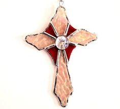 Stained Glass Old World Cross Suncatcher by GlassofDistinction, $12.95