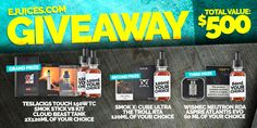 Sponsored By eJuices.com! For this giveaway, Vaping Cheap Readers have a chance to score some new box mods, vape starter kits, atomizers and premium e-juice! There will be a total of 3 winners. The grand prize winner will receive the Teslacigs Touch 150w TC Mod,