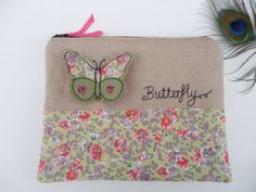 Handmade Cosmetic Makeup Bag Purse 3D Butterfly Applique Embroidered design, Green Ditsy print floral cotton, biscuit linen, Fully Lined