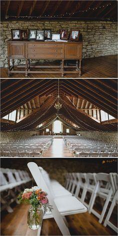 elegant barn wedding ceremony   Mayowood Stone Barn