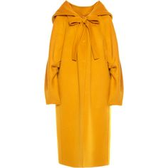 Hooded Bow Tie Coat  | Moda Operandi (113 540 UAH) via Polyvore featuring outerwear, coats, calf-length coats, midi coat, orange coat, hooded coat и leather-sleeve coats