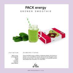 """#consigliodtox Cominciamo con tanta energia la competizione """"RINGANA d-tox"""", bevendo il frullato verde con il PACK energy. Per una persona frullare 250 ml di acqua con una bustina di PACK energy, mezzo cetriolo (o una carota visto che non è stagione di cetrioli), un ciuffetto di spinaci, un'arancia, una banana e una mela. Gustatelo! Pack energy su www.freschidea.it o facendone richiesta scrivendo a info@freschidea.it"""