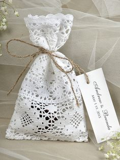 Custom listing 20 White lace Wedding Favor Bag by forlovepolkadots Homemade Wedding Favors, Rustic Wedding Favors, Wedding Favor Bags, Lace Wedding, Diy Wedding, Sewing Art, Sewing Crafts, Sewing Projects For Kids, Crochet Projects
