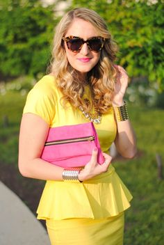 A Lacey Perspective from your brights board -- I like the lemon yellow, and the peplum, and of course the pink accent. Terrible short sleeves, though; they aren't even flattering on the model.