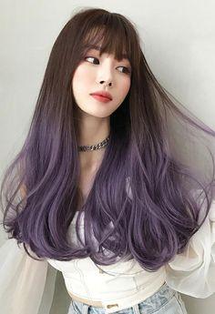 Pretty Hair Color, Hair Color Purple, Hair Dye Colors, Blue Hair, Korean Hair Color Ombre, Korea Hair Color, Hair Color Ideas, Lilac Hair, Medium Hair Styles