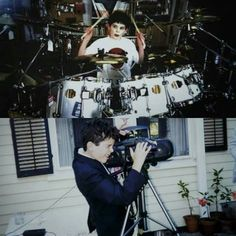 """Damien Sayre Chazelle Fanclub on Instagram: """"Baby Damien with the two greatest loves of his life, Drums and the Camera. 😊 Also,in the first pic he looks like he has put on some goth…"""""""