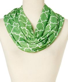 Another great find on #zulily! Green Quatrefoil Infinity Scarf #zulilyfinds