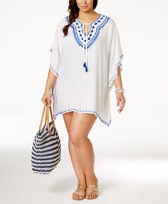 Raviya Plus Size Embroidered Peasant Cover-Up Tunic | macys.com