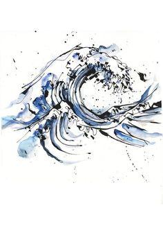 Tattoo design by Petra Hlaváčková, via Behance. Hokusai's Great Wave done a little bit differently!