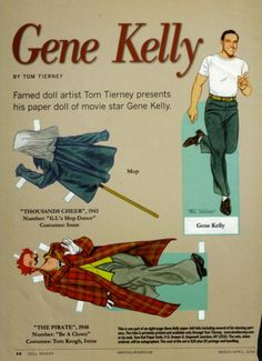 Gene Kelly paper doll - wish I could find a copy of this. Dolls Film, Paper People, Gene Kelly, Classic Actresses, Vintage Paper Dolls, Fashion Tv, Camping Crafts, Yesterday And Today, Classic Tv