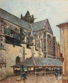 Alfred Sisley「The Church at Moret in the Rain」(1894)
