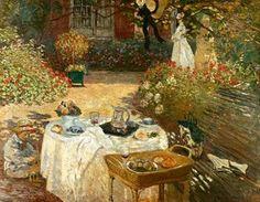 Le Déjeuner  by Claude Monet Monet Paintings, Impressionist Paintings, Pierre Auguste Renoir, Claude Monet Tableau, Artist Monet, Ouvrages D'art, Impressionism Art, Oil Painting Reproductions, Art Moderne
