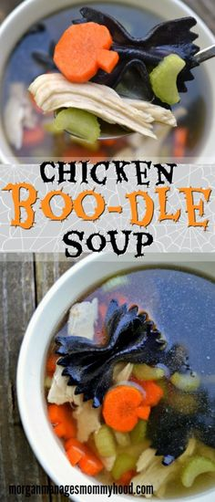 Chicken Boo-dle Soup #recipe via @morganmanages #recipes #halloween #kids http://www.morganmanagesmommyhood.com/chicken-boo-dle-soup/