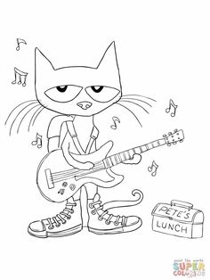 Rockin' Pete the Cat coloring page