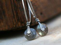 Labradorite and silver rivet earrings  by MaryAnneKarren on Etsy, $39.00