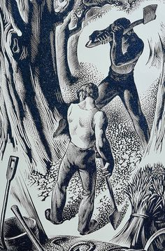 """""""Woodcutters"""" by Agnes Miller Parker, 1948 (wood engraving)"""