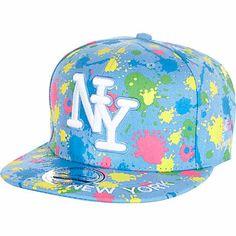Blue splash print NY trucker hat £15.00