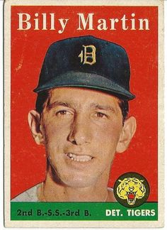 Billy Martin 1958 Topps Detroit Tigers Baseball Trading Card average wear-back stain. Image of actual item instock - as shown/as is. Detroit Sports, Detroit Tigers Baseball, Sports Teams, Football, Billy Martin, Baseball Cards For Sale, Willie Mays, State Of Michigan, Detroit Michigan