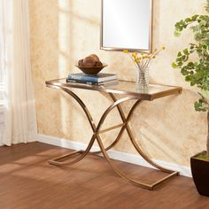 Upton Home Ambrosia Champagne Brass Console/ Sofa Table   Overstock.com Shopping - Great Deals on Upton Home Coffee, Sofa & End Tables