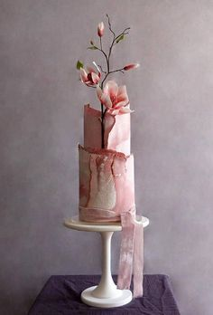 45 Simple, Elegant, Chic Wedding Cakes ❤ simple elegant chic wedding cakes modern pink cake cakebuds uk #weddingforward #wedding #bride