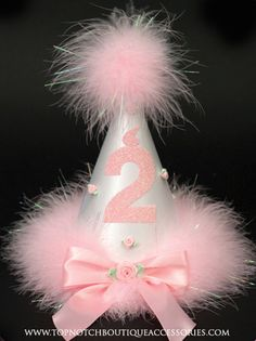 Girls 2 nd Birthday Pink Marabou Party Hat