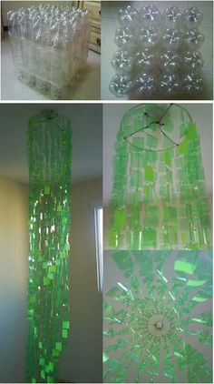 Making a chandelier out of plastic bottles - Will have to try this!