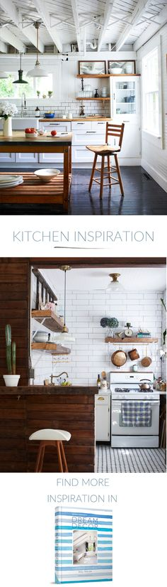 Do you need some home interior decoration inspiration? These two stylish kitchen designs show how you can use white subway tile, natural woods and both factory-style pendant and cafe-style lighting to create the perfect space. For more inspiring interior design ideas and help in creating your own cool, creative and comfortable home check out Bright.Bazaar's latest book Dream Decor.
