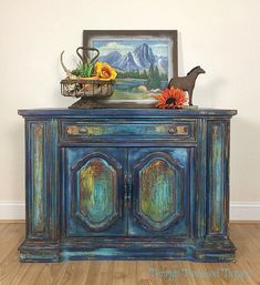 painted cabinet - bohemian cabinet - painted furniture #affiliate