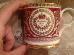 Buckingham Palace Collectors cup/mug / 1995 English Fine Bone China cup / 22K gold, burgundy and white porcelain cup by PureJoyVintage on Etsy