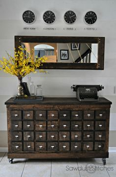 I love the idea of a card catalogue...but what would I fill all those drawers with? This is a perfect solution.